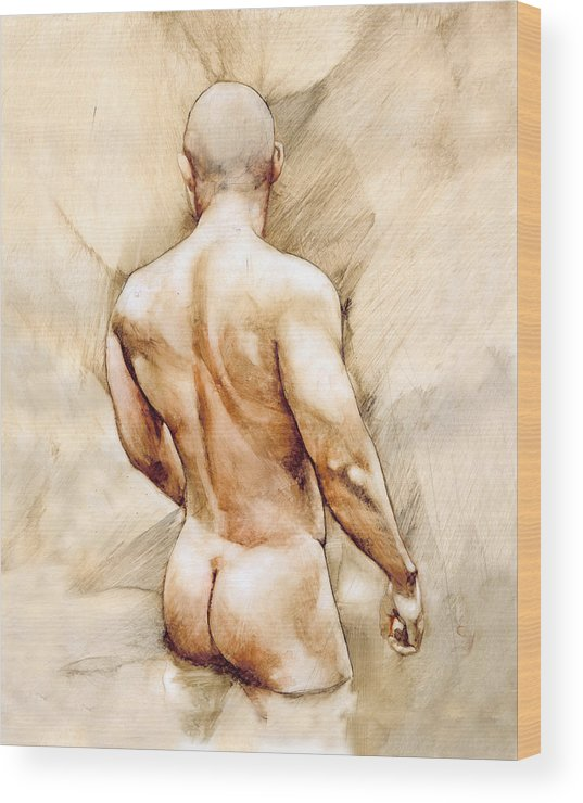 Man Wood Print featuring the painting Nude 40 by Chris Lopez