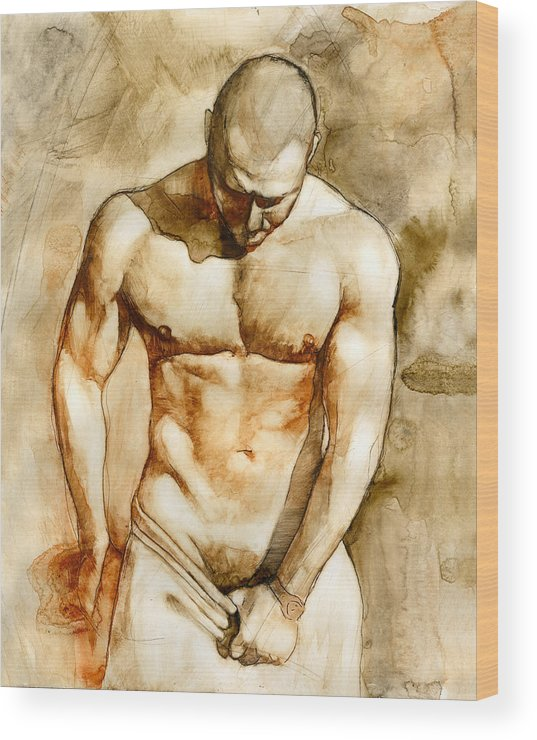 Male Nude Wood Print featuring the painting Nude 43 by Chris Lopez