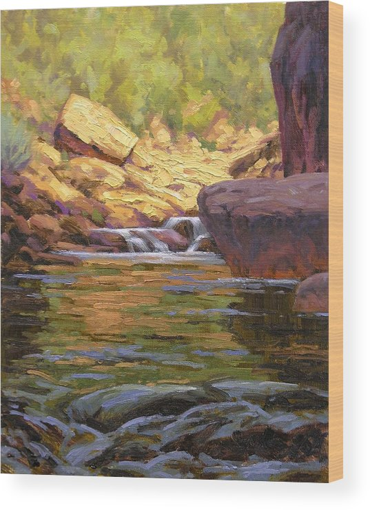 Water Scene Wood Print featuring the painting Oak Creek Tributary by Cody DeLong