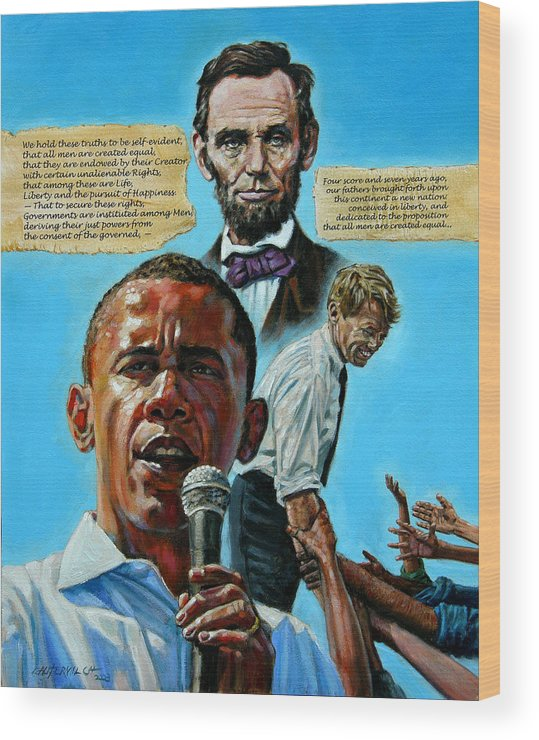 Obama Wood Print featuring the painting Obamas Heritage by John Lautermilch
