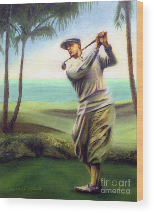 Golf Art Wood Print featuring the painting Ocean Drives by Mike Massengale