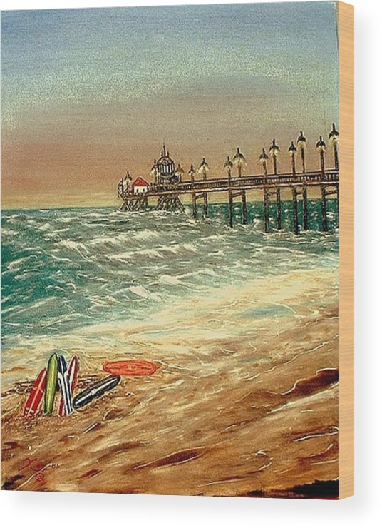 Ocean Sirfboards  Pier Wood Print featuring the painting Ocean Pier by Kenneth LePoidevin