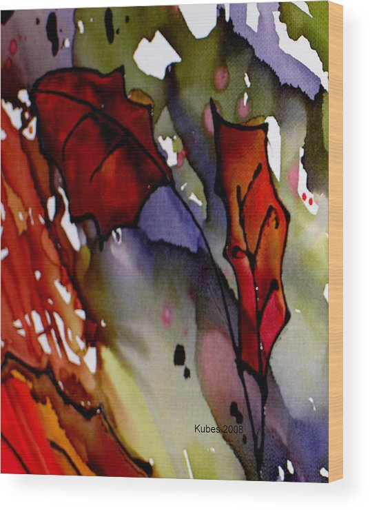 Leaf Wood Print featuring the mixed media Octoberfirst by Susan Kubes