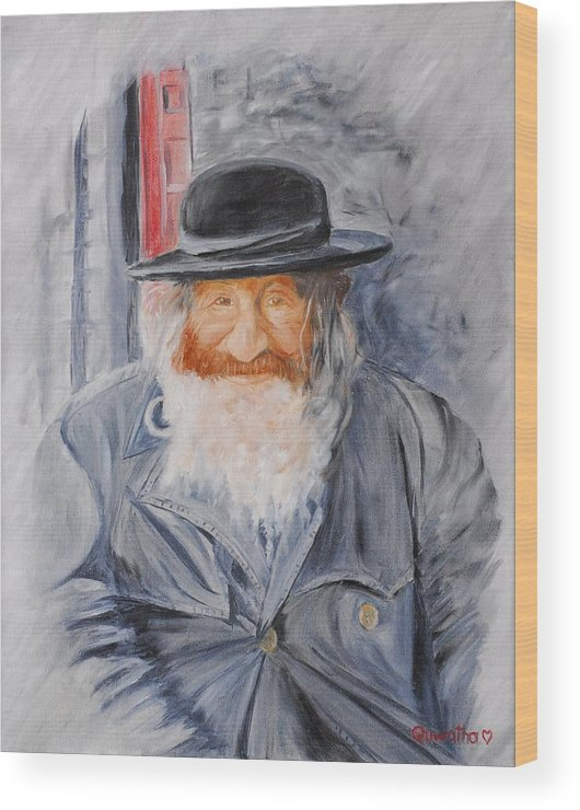 Jerusalem Wood Print featuring the painting Old Man Of Jerusalem by Quwatha Valentine