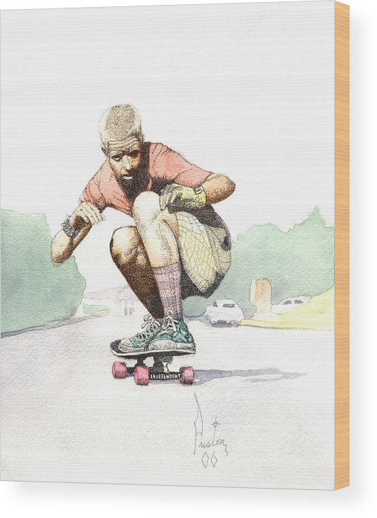 Duane Peters Skateboard Art Old School Nhs Santa Cruz Punk Skater Skateboarder Thrasher Wood Print featuring the painting Old School Skater by Preston Shupp