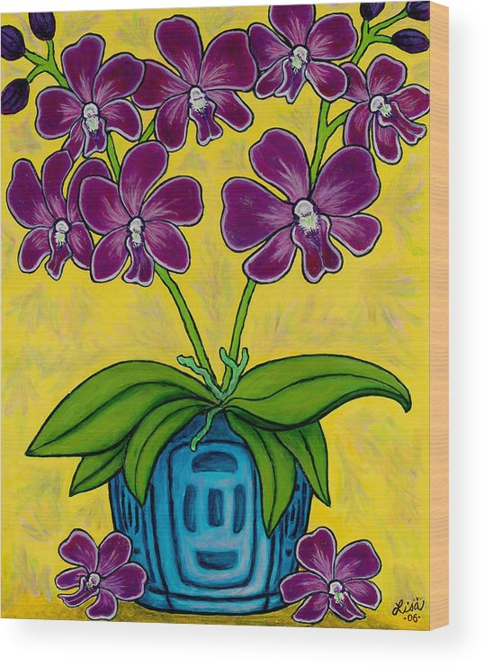 Orchids Wood Print featuring the painting Orchid Delight by Lisa Lorenz
