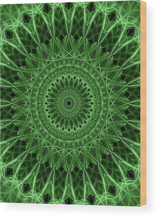 Mandala Wood Print featuring the digital art Ornamented Mandala In Green Tones by Jaroslaw Blaminsky