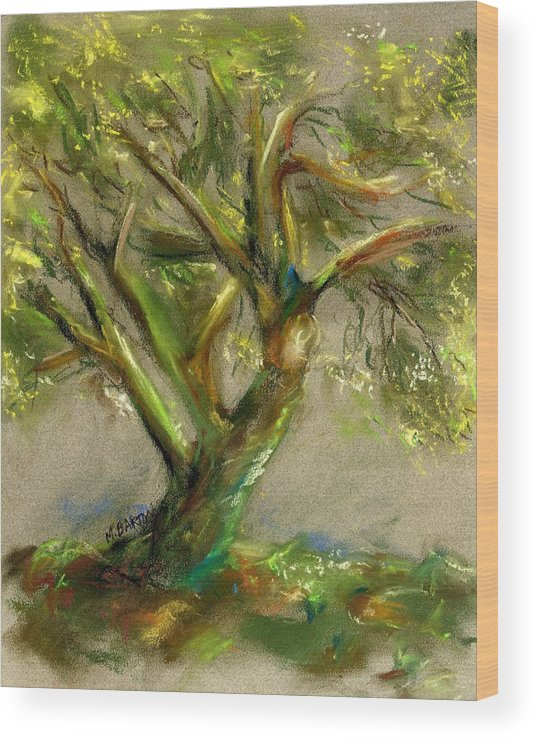 Desert Wood Print featuring the painting Palo Verde by Marilyn Barton