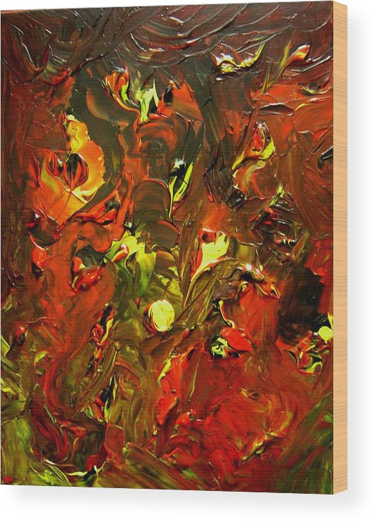 Abstract Wood Print featuring the painting Peace And Pain by Karen L Christophersen