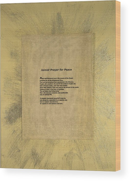 Peace Wood Print featuring the painting Peace Prayers - Jainist Prayer For Peace by Emerald GreenForest