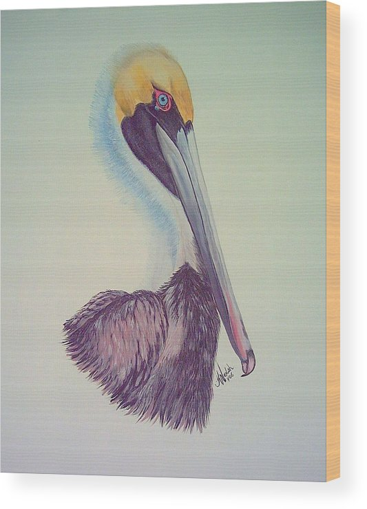 Pelican Wood Print featuring the painting Pelican Prince by Kathern Welsh