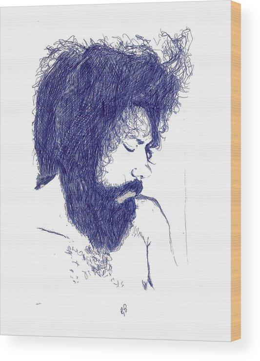 Portrait Wood Print featuring the digital art Pen Portrait by Ron Bissett