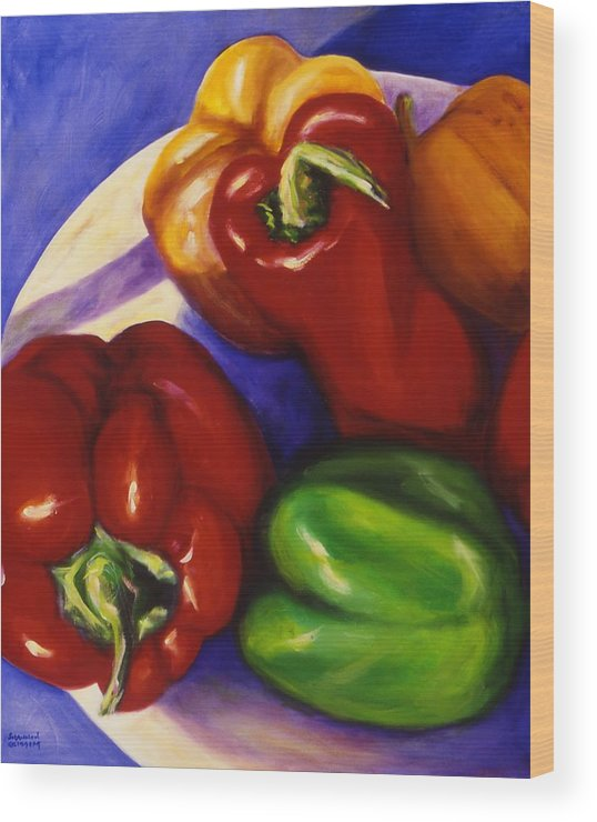 Still Life Peppers Wood Print featuring the painting Peppers In The Round by Shannon Grissom