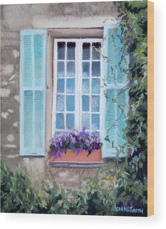Provence Wood Print featuring the pastel Perched Purples by Jeanne Rosier Smith
