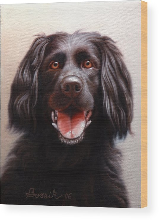 Black Labrador Wood Print featuring the painting Pet Portrait Of A Black Labrador by Eric Bossik