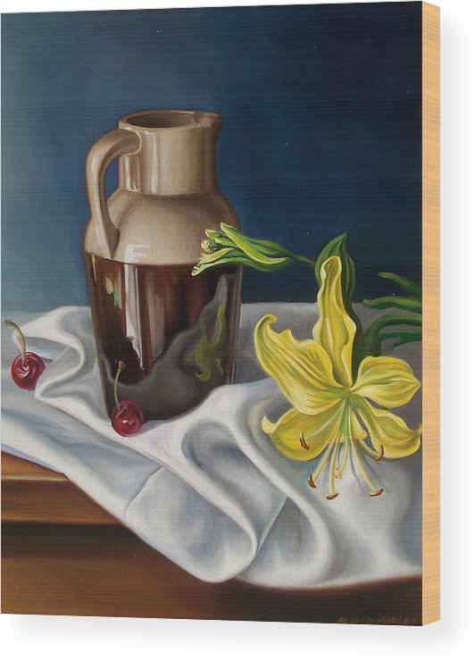 Still Life Wood Print featuring the painting Pitcher And Cherries by Arnold Hurley