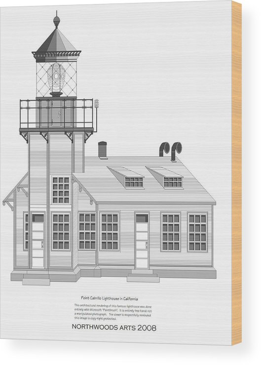 Lighthouse Wood Print featuring the painting Point Cabrillo Architectural Drawing by Anne Norskog