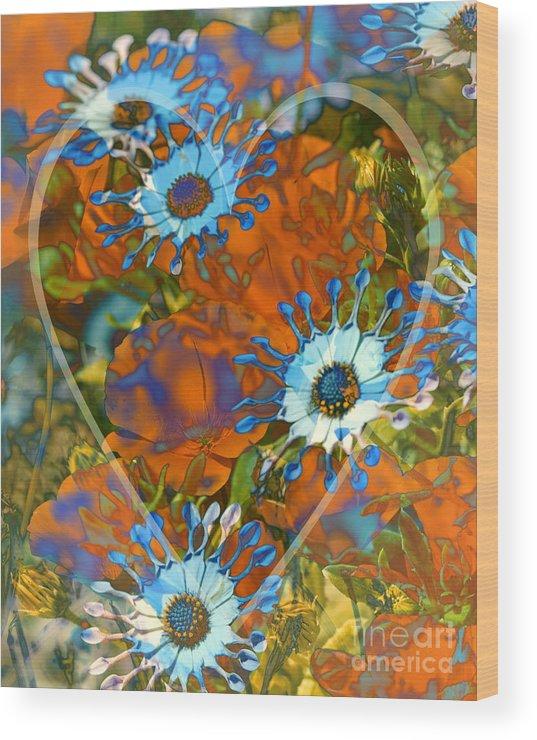 Floral Wood Print featuring the digital art Poppy Love by Chuck Brittenham