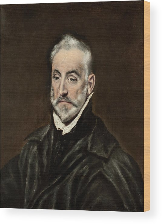 Beard Wood Print featuring the painting Portrait Of Antonio De Covarrubias by El Greco