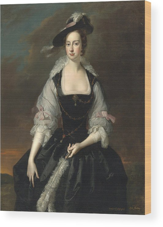 Thomas Hudson Wood Print featuring the painting Portrait Of Lady Frances Courtenay by Thomas Hudson