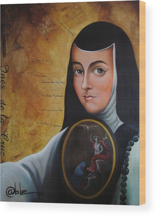 Mexico Wood Print featuring the painting Portrait Of Sor Juana Ines De La Cruz by Alex Loza