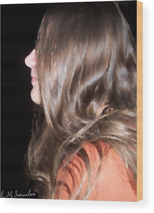Woman Wood Print featuring the photograph Profile Of A Woman by Elise Samuelson