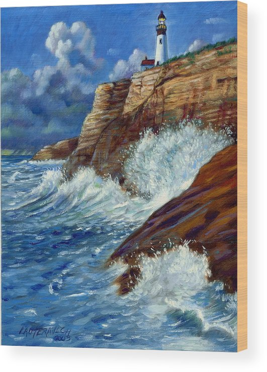 Lighthouse Wood Print featuring the painting Psalm Forty Three-three by John Lautermilch