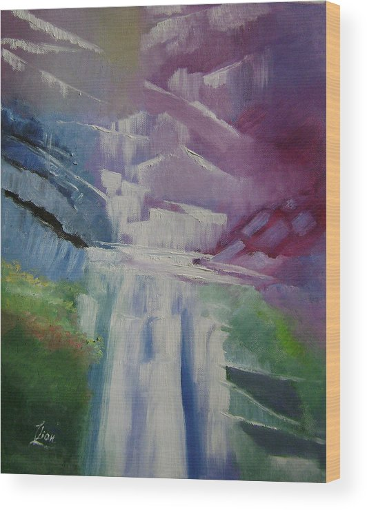 Abstract Wood Print featuring the painting Purple Waterfalls by Lian Zhen