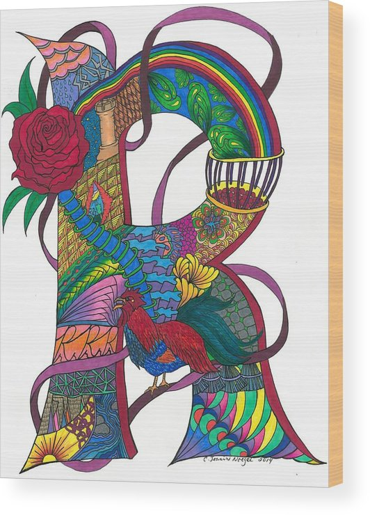 Zen Wood Print featuring the drawing Radical Rooster by Jeanine Noegel