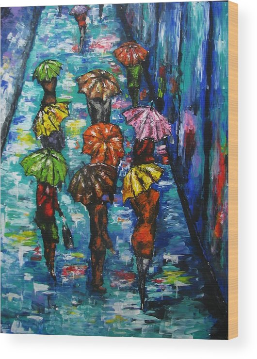 Rain Wood Print featuring the painting Rain Fantasy Acrylic Painting by Natalja Picugina