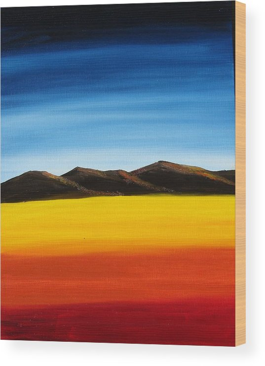 Mountains Wood Print featuring the painting Rainbow Mountains by Liz Vernand