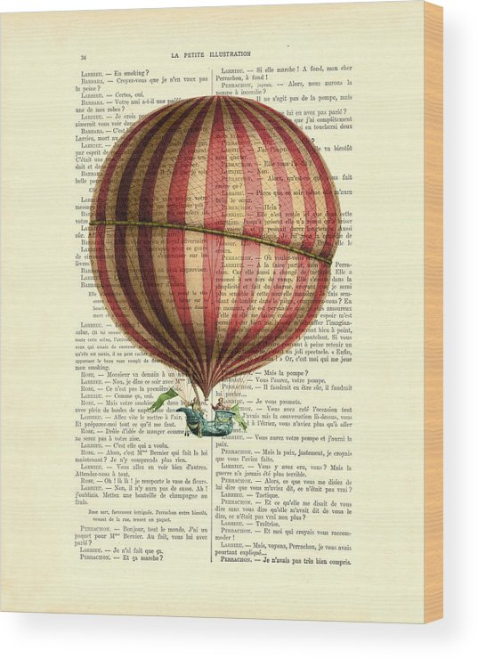 Hot Air Balloon Wood Print featuring the digital art Red And White Striped Hot Air Balloon Antique Photo by Madame Memento
