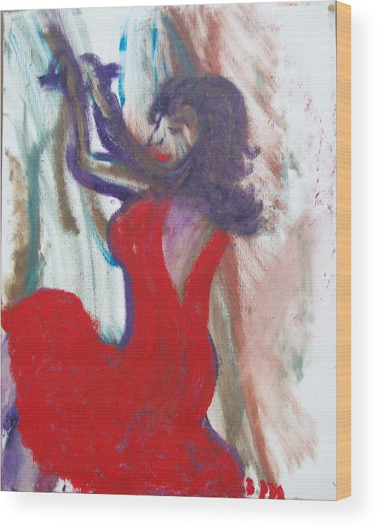 Woman In Red Dress Wood Print featuring the painting Red Dress by Jennifer K Machado