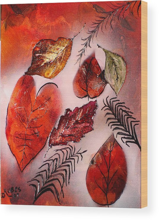 Leaf Wood Print featuring the painting Red Leaves by Susan Kubes