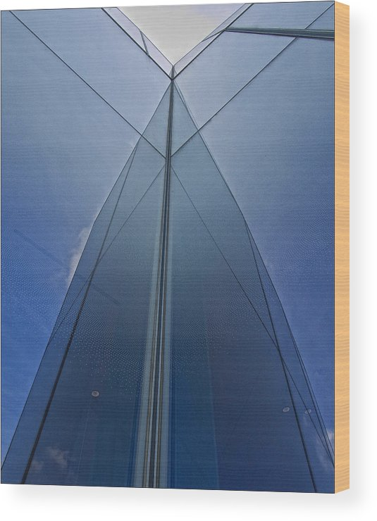 Architectural Detail Wood Print featuring the photograph Reflective Building Nyc by Robert Ullmann