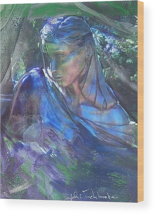 Womans Face Wood Print featuring the mixed media Remembering by John Vandebrooke