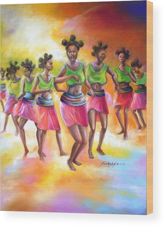 Orange Wood Print featuring the painting Rhythm Of Celebration by Olaoluwa Smith