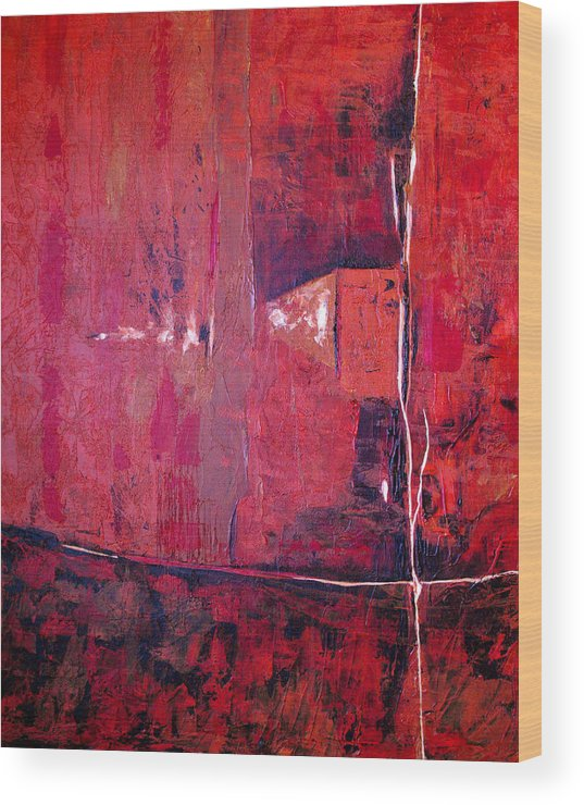 Abstract Wood Print featuring the painting Risky Business by Ruth Palmer