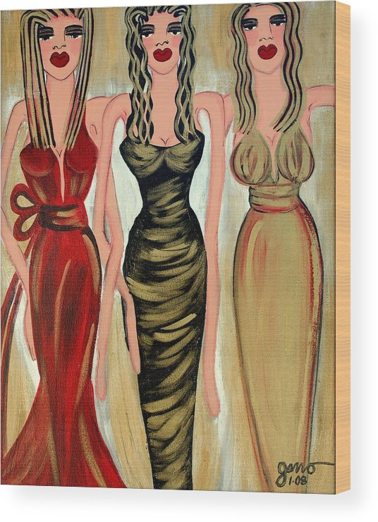 Figures Wood Print featuring the painting Rodeo Drive by Helen Gerro