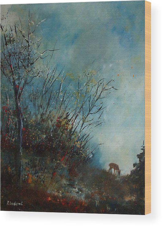 Animal Wood Print featuring the painting Roedeer In The Morning by Pol Ledent