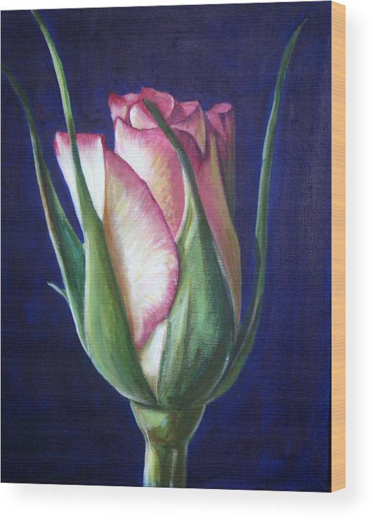 Rose Wood Print featuring the painting Rose Bud by Fiona Jack