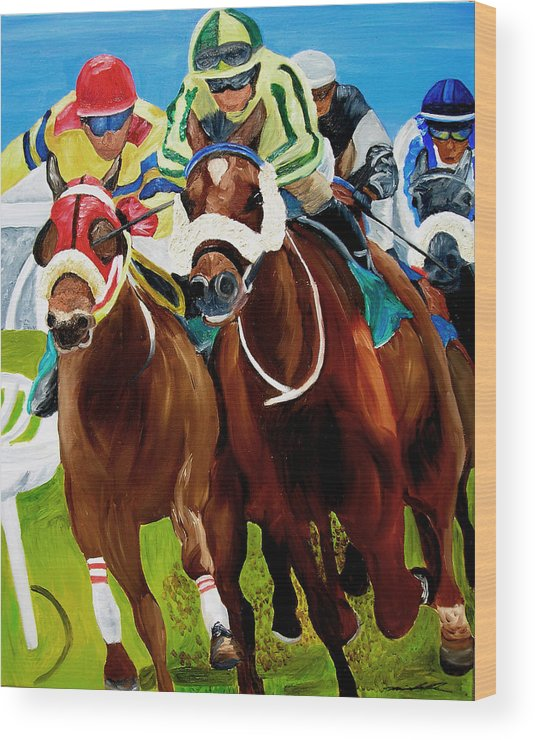 Horse Racing Wood Print featuring the painting Rounding The Bend by Michael Lee