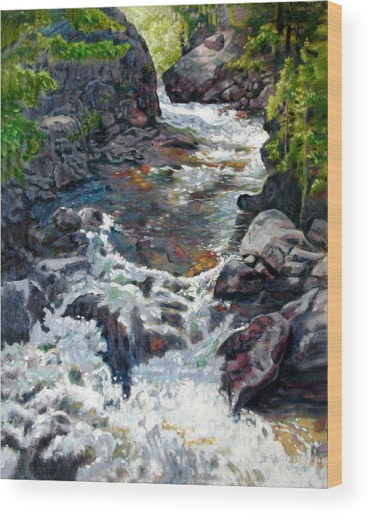 A Fast Moving Stream In Colorado Rocky Mountains Wood Print featuring the painting Rushing Waters by John Lautermilch