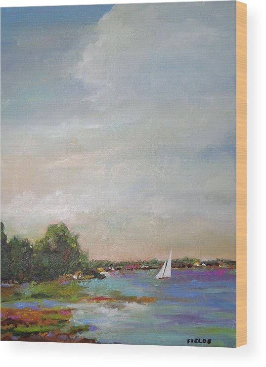 Lake Wood Print featuring the painting Sailboat Painting Meet You There by Karen Fields