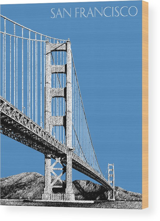 Architecture Wood Print featuring the digital art San Francisco Skyline Golden Gate Bridge 2 - Slate Blue by DB Artist