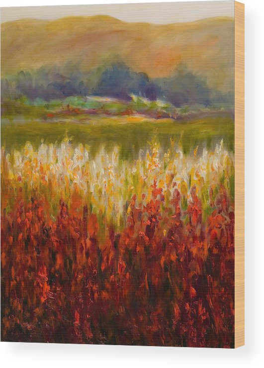 Landscape Wood Print featuring the painting Santa Rosa Valley by Shannon Grissom