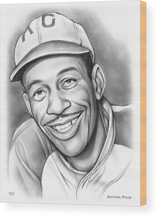 Satchel Paige Wood Print featuring the drawing Satchel Paige II by Greg Joens