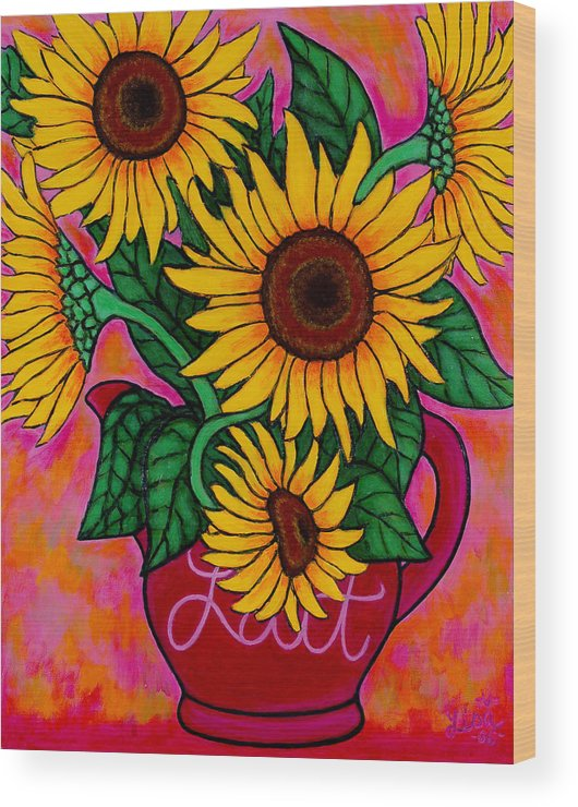 Sunflowers Wood Print featuring the painting Saturday Morning Sunflowers by Lisa Lorenz