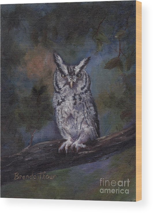 Owl Wood Print featuring the painting Screech Owl by Brenda Thour