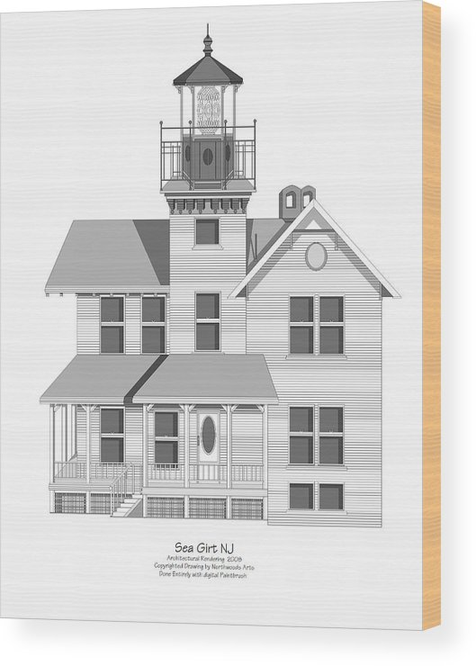 Lighthouse Wood Print featuring the painting Sea Girt New Jersey Architectural Drawing by Anne Norskog